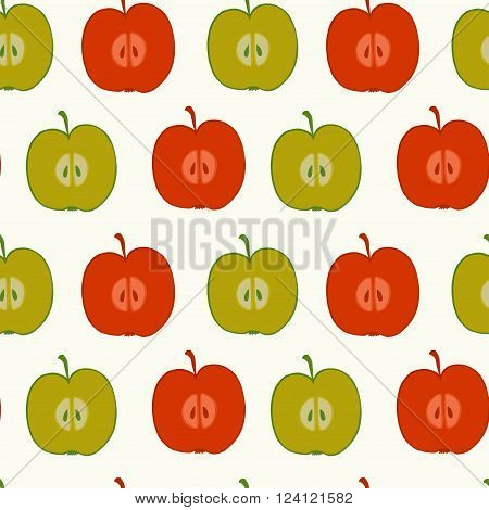 Seamless pattern made of doodle hand drawn halves of red and green apples. Fruity tiling background.