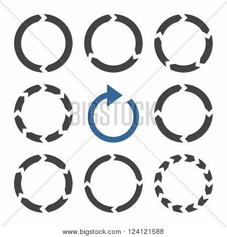 Rotation Direction vector icon set. Collection style is bicolor cobalt and gray flat symbols on a white background. Rotation Direction icons.
