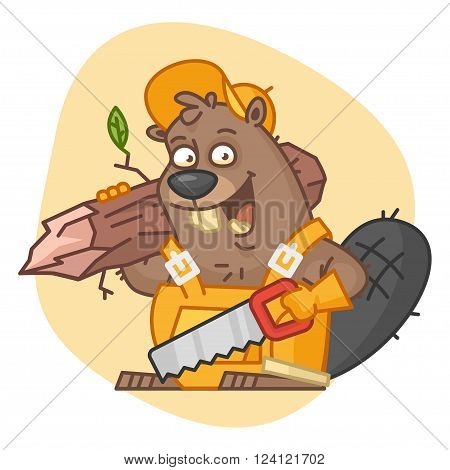 Vector Illustration, Beaver Holds Saw and Tree, format EPS 8
