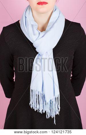 Silk Scarf. Blue Silk Scarf Around Her Neck Isolated On Pink Background.