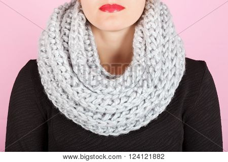 Silk Scarf. Gray Silk Scarf Around Her Neck Isolated On Pink Background.