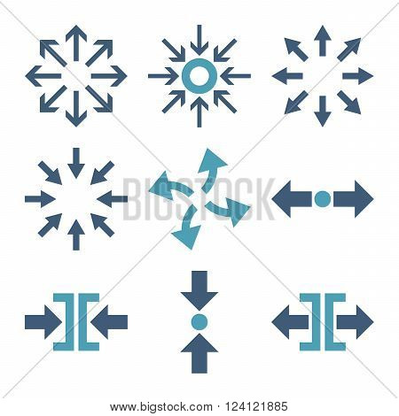 Compress and Explode Arrows vector icon set. Collection style is bicolor cyan and blue flat symbols on a white background. Compress And Explode Arrows icons.