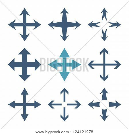 Expand Arrows vector icon set. Collection style is bicolor cyan and blue flat symbols on a white background. Expand Arrows icons.
