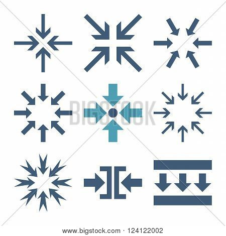 Minimize Arrows vector icon set. Collection style is bicolor cyan and blue flat symbols on a white background. Minimize Arrows icons.