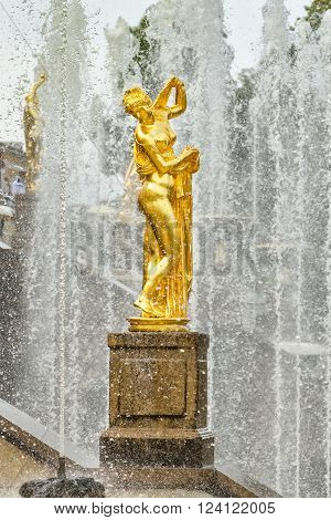 Petergof, St Petersburg, Russia - September 1, 2012: Golden statue of Venus Callipyge at fountains of Grand Cascade at Grand Petergof Palace. Unidentified tourists present on picture.