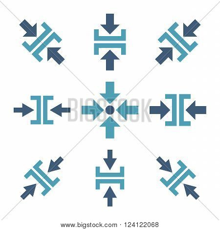 Pressure Directions vector icon set. Collection style is bicolor cyan and blue flat symbols on a white background. Pressure Directions icons.