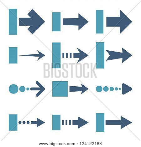 Pull Right vector icon set. Collection style is bicolor cyan and blue flat symbols on a white background. Pull Right icons.