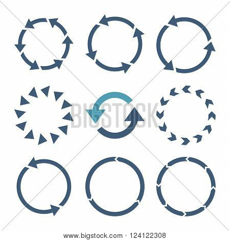Rotation Direction vector icon set. Collection style is bicolor cyan and blue flat symbols on a white background. Rotation Direction icons.