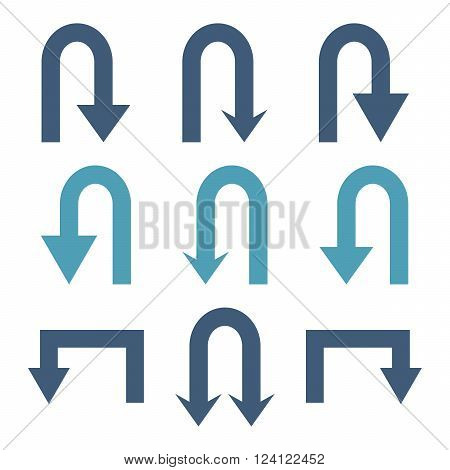 Turn Back Arrows vector icon set. Collection style is bicolor cyan and blue flat symbols on a white background. Turn Back Arrows icons.