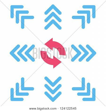 Directions vector icon set. Collection style is bicolor pink and blue flat symbols on a white background. Directions icons.