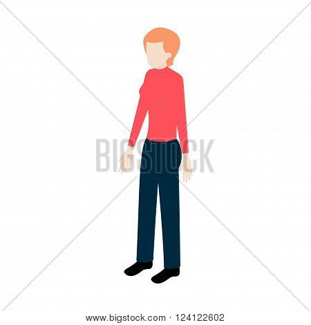 Isometric young woman standing full face for info graphics and game design