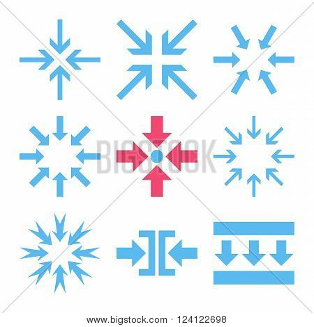 Minimize Arrows vector icon set. Collection style is bicolor pink and blue flat symbols on a white background. Minimize Arrows icons.