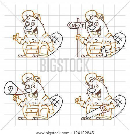 Vector Illustration, Beaver Master Doodle in Different Versions 3, format EPS 8