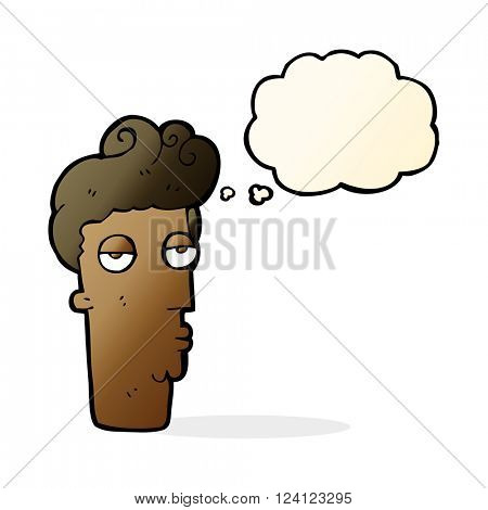 cartoon bored man's face with thought bubble