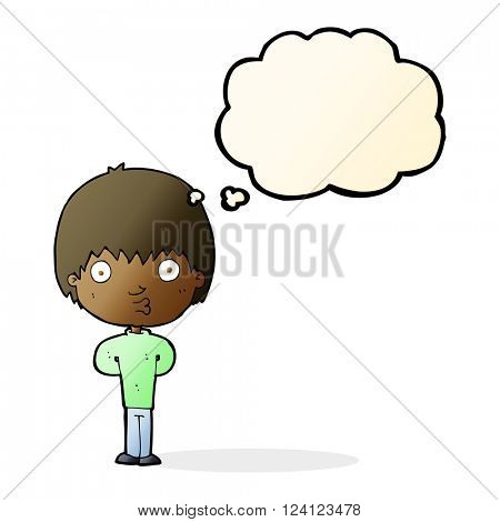 cartoon whistling boy with thought bubble
