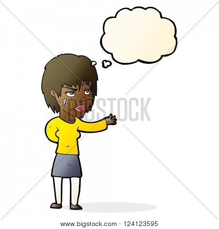 cartoon woman with sticking plaster on face with thought bubble