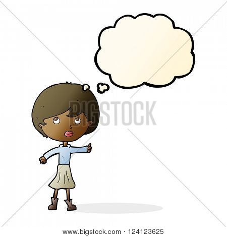 cartoon woman asking question with thought bubble