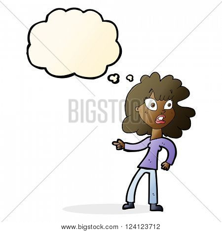 cartoon worried woman pointing with thought bubble
