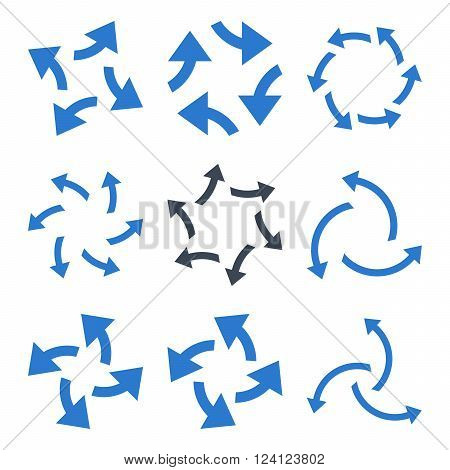 Centrifugal Arrows vector icon set. Collection style of smooth blue flat symbols on a white background. Centrifugal Arrows icons.