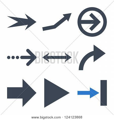 Direction Arrows vector icon set. Collection style is bicolor smooth blue flat symbols on a white background. Direction Arrows icons.