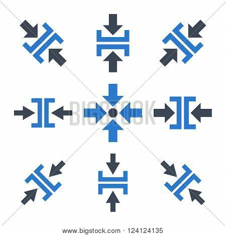 Pressure Directions vector icon set. Collection style is bicolor smooth blue flat symbols on a white background. Pressure Directions icons.