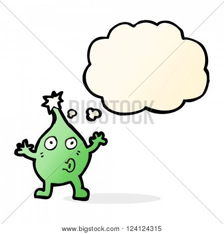 funny cartoon creature with thought bubble