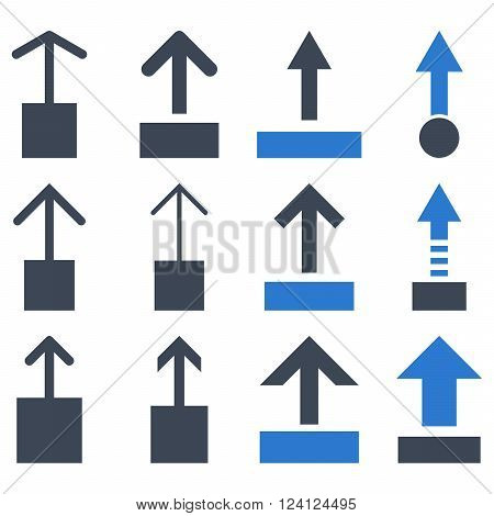 Pull Up vector icon set. Collection style is bicolor smooth blue flat symbols on a white background. Pull Up icons.