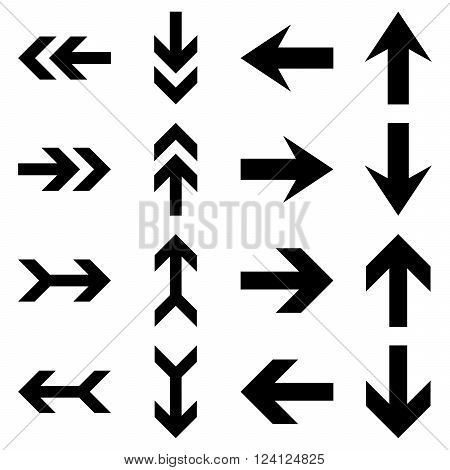 Arrow Directions vector icon set. Collection style is black flat symbols on a white background. Arrow Directions icons.