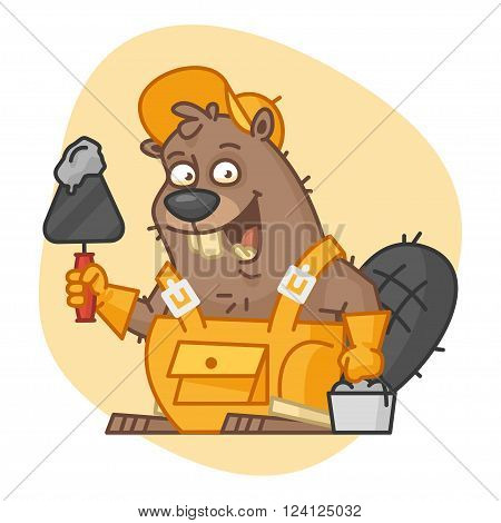 Vector Illustration, Beaver Holds Trowel and Bucket with Cement, format EPS 8