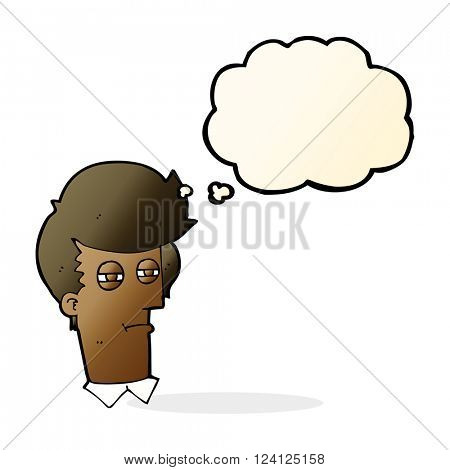 cartoon man with narrowed eyes with thought bubble