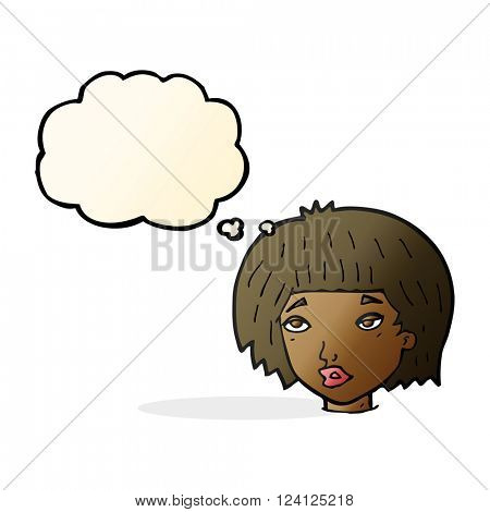cartoon bored looking woman with thought bubble