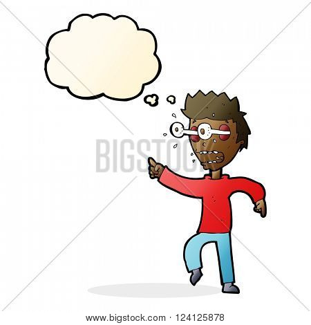 cartoon man with popping out eyes with thought bubble