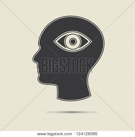 Third eye symbol in a head. Ezoteric concept, vector icon.