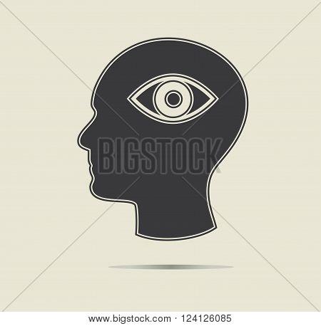 Third eye symbol in a head. Ezoteric concept, vector icon.