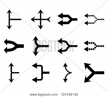 Junction Arrows Left vector icon set. Collection style is black flat symbols on a white background. Junction Arrows Left icons.