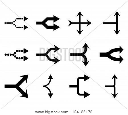 Junction Arrows Right vector icon set. Collection style is black flat symbols on a white background. Junction Arrows Right icons.