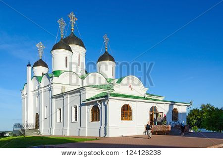 MUROM RUSSIA - AUGUST 23 2015: Unidentified people visit the famous Spaso-Preobrazhensky Cathedral in the Holy Transfiguration Monastery Murom Golden Ring of Russia