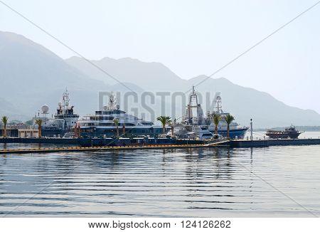 TIVAT MONTENEGRO - SEPTEMBER 16 2015: Ships in the Bay of Tivat Montenegro