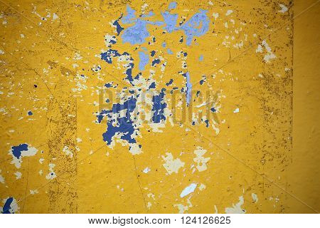 Yellow Blue White Paint Peeling