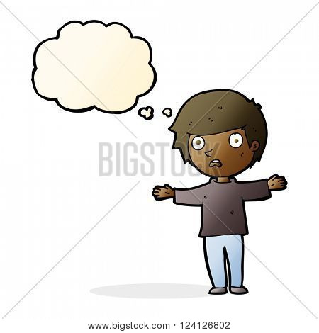 cartoon worried boy with thought bubble