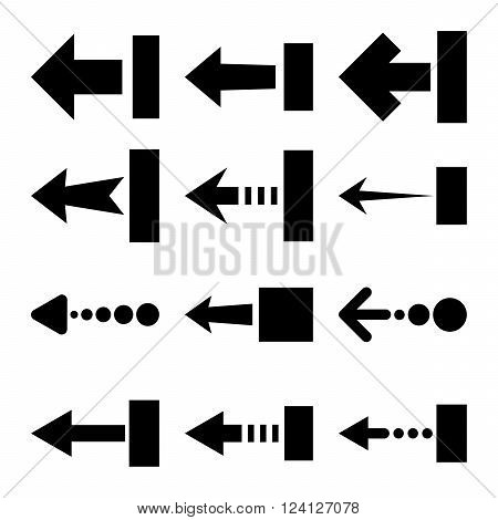 Pull Left vector icon set. Collection style is black flat symbols on a white background. Pull Left icons.