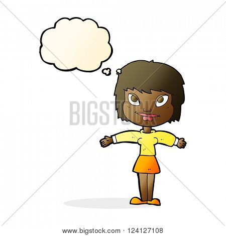 cartoon woman with open amrs with thought bubble