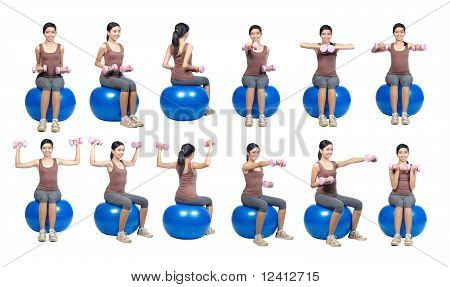 poses with weight and ball shown by young women