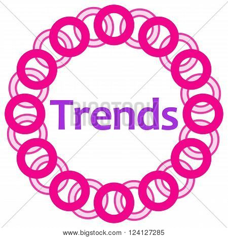 Trends text written over pink circular background.