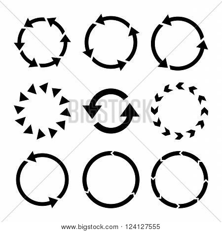 Rotation Direction vector icon set. Collection style is black flat symbols on a white background. Rotation Direction icons.