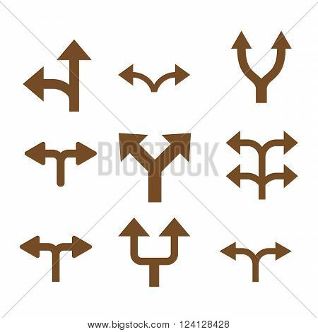 Divide Arrows vector icon set. Collection style is brown flat symbols on a white background. Divide Arrows icons.