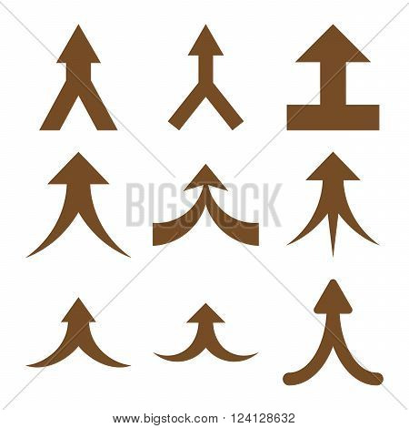 Join Arrows Up vector icon set. Collection style is brown flat symbols on a white background. Join Arrows Up icons.