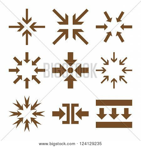 Minimize Arrows vector icon set. Collection style is brown flat symbols on a white background. Minimize Arrows icons.