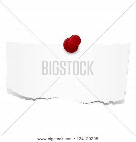 white scraps of paper with red pin needle