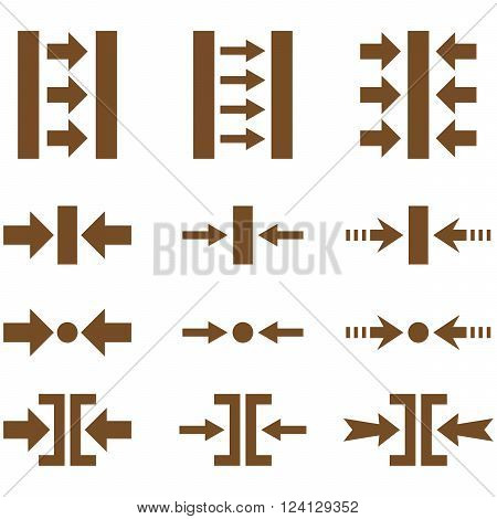 Pressure Horizontal vector icon set. Collection style is brown flat symbols on a white background. Pressure Horizontal icons.